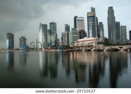 View of  singapore city in the morning rainy day