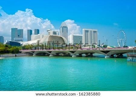 View of Singapore city skyline  - stock photo