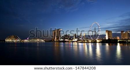 View of Singapore city skyline at night - stock photo