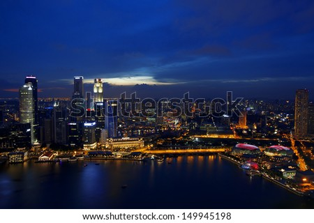 View of Singapore city skyline at night