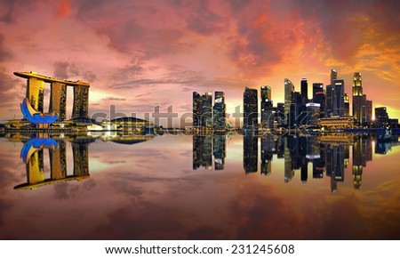 View of Singapore city skyline at sunset - stock photo