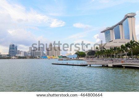 view of Singapore downtown and marina bay
