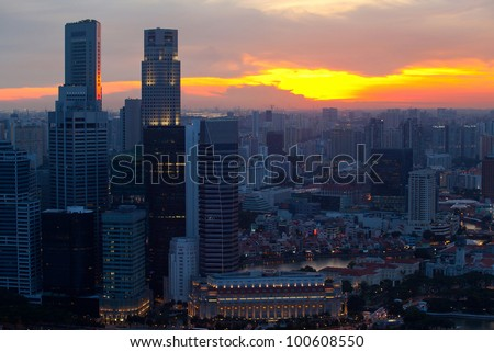 View of Singapore skyline in the evening at sunset. - stock photo