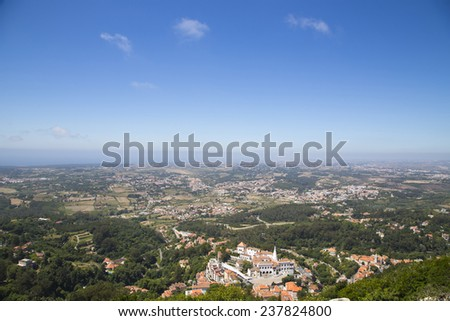 view of sintra from the castle - stock photo