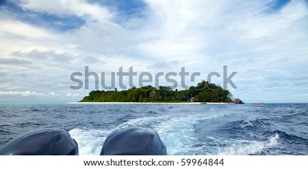 View of Sipadan Island from a Diving Speedboat!