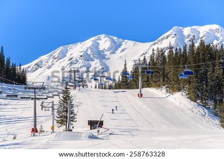 View of ski slope in Rohace winter resort, Tatra Mountains, Slovakia - stock photo