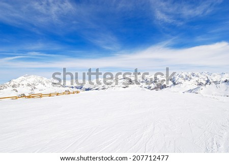 view of skiing area in mountains of Paradiski region, Val d'Isere - Tignes , France