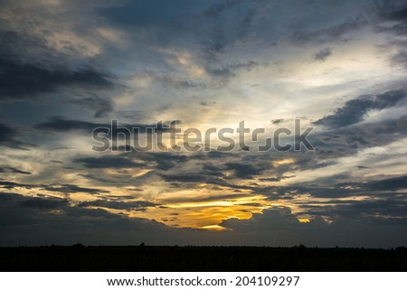 View of sky with clouds in the evening