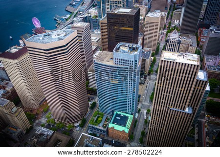 View of skyscrapers in downtown, in Seattle, Washington. - stock photo