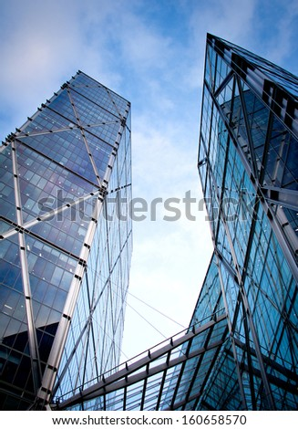 view of skyscrapers in London - stock photo