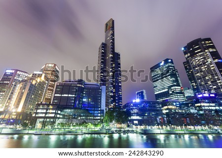 View of skyscrapers in Southbank precinct of Melbourne, Australia at night - stock photo