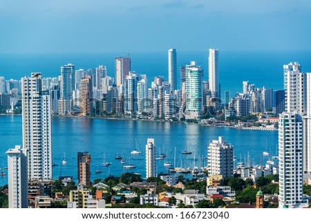 View of skyscrapers in the Bocagrande neighborhood of Cartagena, Colombia - stock photo