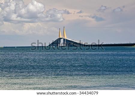 View of Skyway Bridge in Tampa, Florida - stock photo