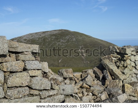 view of slieve Donnard the highest mountain in North Ireland - stock photo