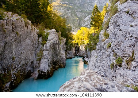 View of Slovenian Soca river in the summer - stock photo