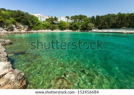 View of small bay in in Krk on Krk island, Croatia - stock photo