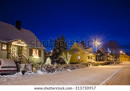 View of small swedish  european  town Soderhamn at christmas night