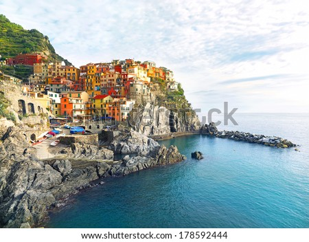 View of small town Manarola. Resort in the province of La Spezia. Seaside in Cinque Terre National Park. Italy