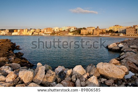 View of small town of Nettuno and historical building Fort St. Gallo