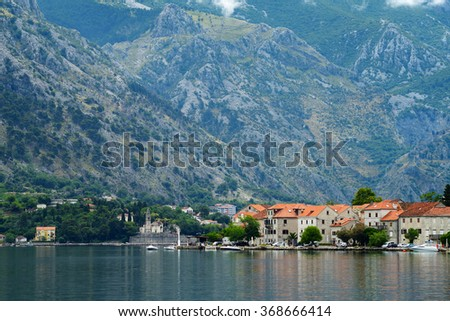 View of small town Prcanj, Montenegro - stock photo