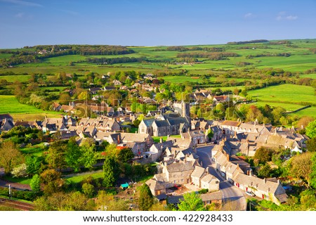 View of small village by Corfe Castle In Dorset, UK.