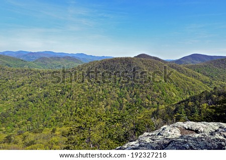 View of Smoky Mountains from a rock overlook. - stock photo