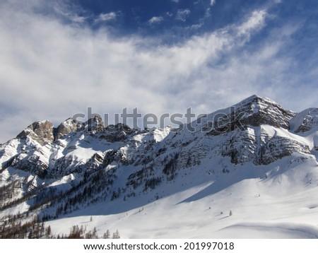 View of snow-capped mountains near passo Pordoi  - stock photo