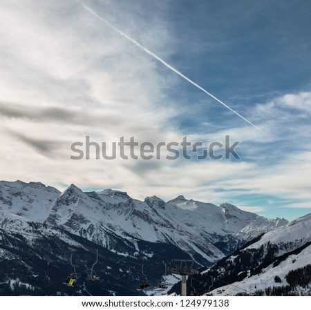 View of snow-covered mountains of a valley of Zillertal - Mayrhofen, Austria