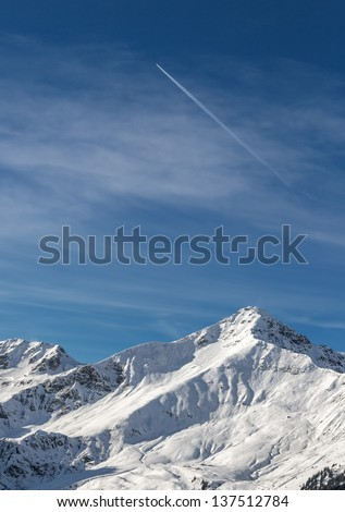 View of snow-covered mountains of a valley of Zillertal - Mayrhofen, Austria - stock photo