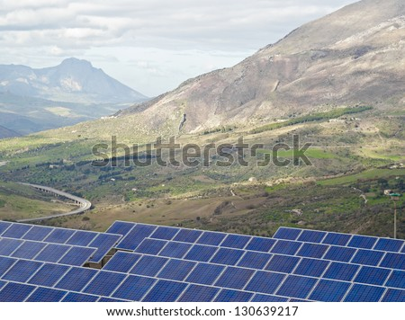 View of solar panels in the Madonie mountains. Sicily
