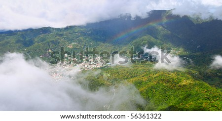 View of Soufriere from the summit of Petit Piton - St Lucia. - stock photo