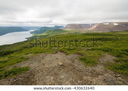 View of South Arm | Lookout Hills Trail | Gros Morne  One of the best panoramic vistas in the park. Taken from the platform atop Partridgeberry Hill. - stock photo