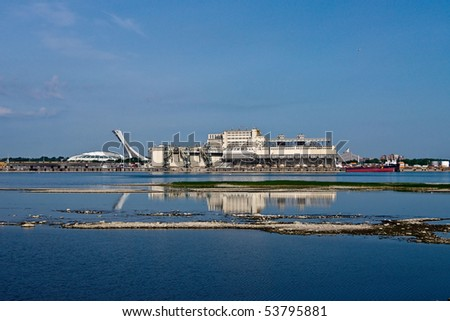 View of South Facade Harbour and Stadium Background of Montreal - stock photo