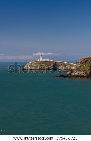 View of South Stack, Anglesey, Wales, including lighthouse