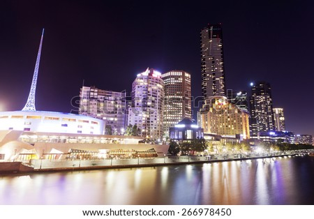View of Southbank area in Melbourne, Australia at night - stock photo