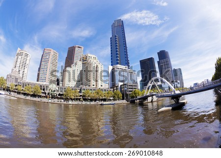 View of Southbank area in Melbourne CBD in the daytime, fisheye view - stock photo