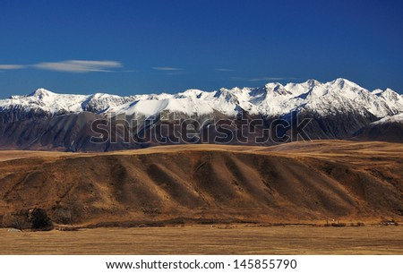 View of Southern Alps from Mount John in New Zealand,