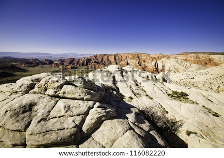 View of Southern Utah's Snow Canyon State Park. - stock photo