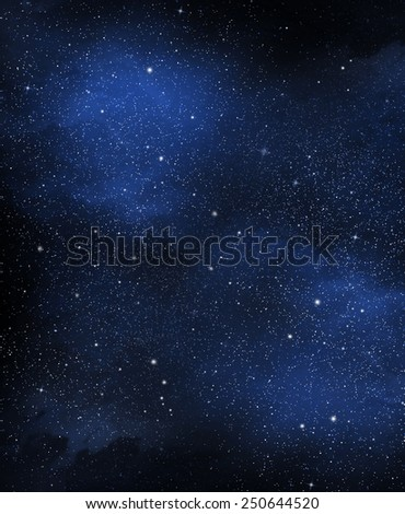 View of space with cluster of stars - stock photo