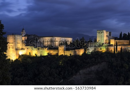 view of Spain's main tourist attraction: ancient arabic fortress of Alhambra, Granada, Spain - stock photo
