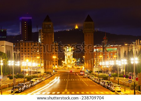 View of Spain square at Barcelona in twilight. Catalonia, Spain