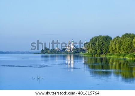 View of Spaso-Yakovlevsky Monastery in Rostov  from Nero's lake, Russia - stock photo
