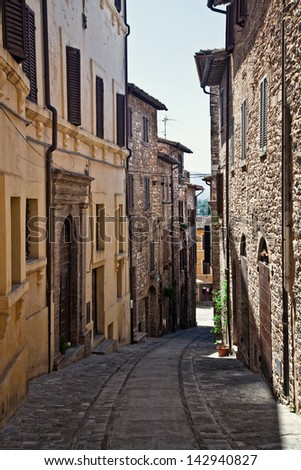 view of spello medieval town in italy