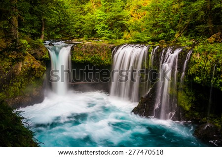 View of Spirit Falls on the Little White Salmon River in the Columbia River Gorge, Washington. - stock photo