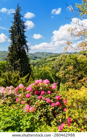 View of Spring landscape in Odenwald, Germany - stock photo