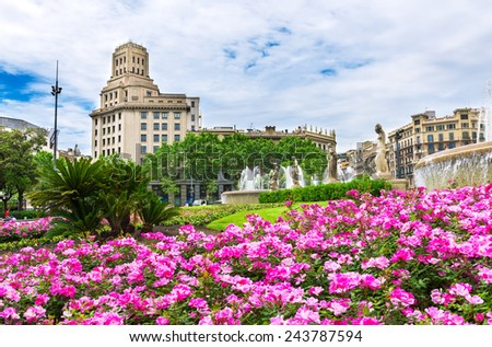 View of Square of Catalonia in Barcelona. Spain - stock photo
