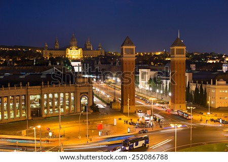 View of Square of Spain in Barcelona at dusk - stock photo