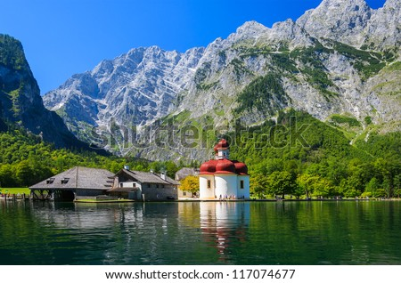 View of St. Bartholoma church in Konigsee National Park in summer, Germany