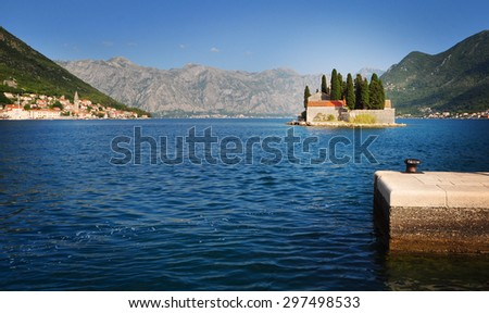 View of St.George monastery on the island in Montenegro