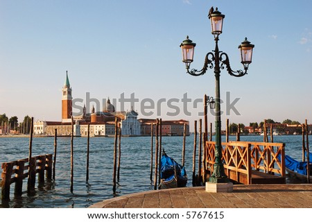 View of St. Giorgio across the grand canal in Venice, early in the morning